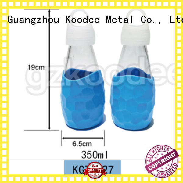Wholesale customized milk bottle glass with silicone sleeve BPA free 350ml Koodee