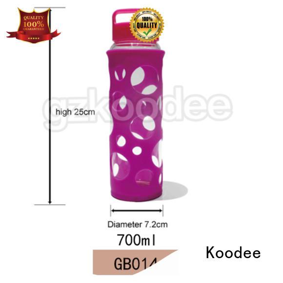 Koodee customized glass gym water bottle handle glassware
